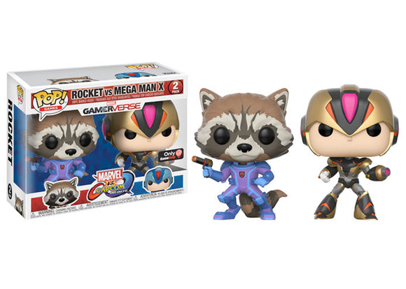 Pop! Games: Marvel VS Capcom Infinite - Rocket Raccoon VS Mega Man (Gamestop Exclusive) - Mom's Basement Collectibles