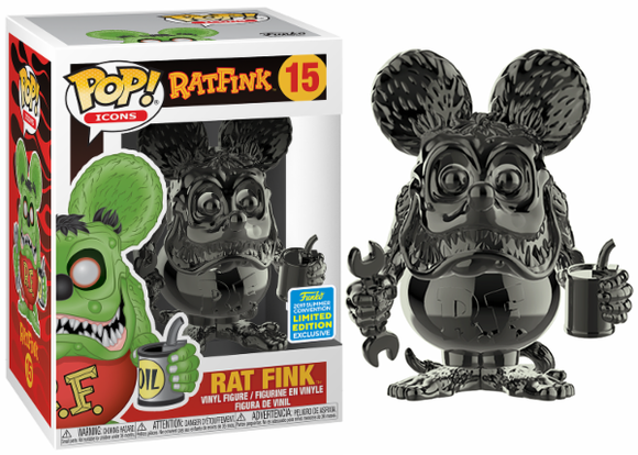 Pop! Icons - Rat Fink [Black Chrome] (Summer Convention Exclusive 2019) - Mom's Basement Collectibles
