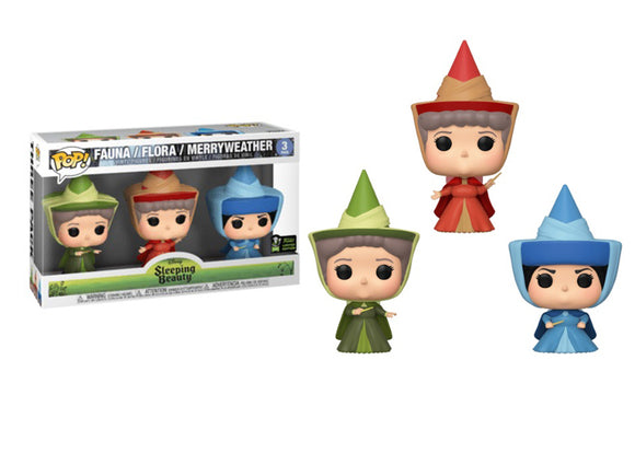 Pop! Disney: Sleeping Beauty - Fauna, Flora, Merryweather 3 Pack (Spring Convention Exclusive 2020) - Mom's Basement Collectibles