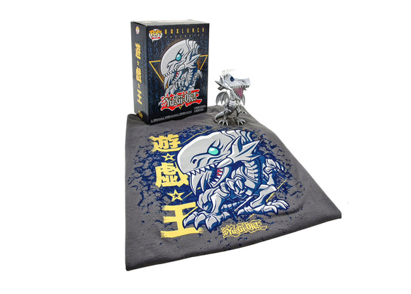 Pop! Animation: Yu-Gi-Oh - Blue-Eyes White Dragon [Metallic] & T-Shirt [X-Large] (Box Lunch Exclusive) - Mom's Basement Collectibles