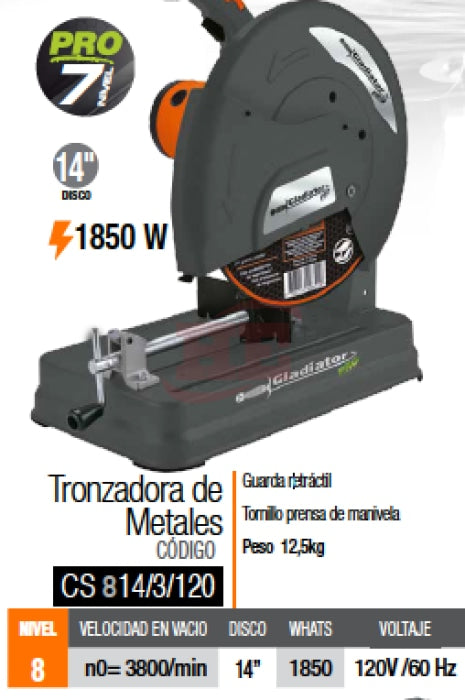 Cs 814/4/120 Plus Tronzadora De Metales 355Mm 2500W Con 3 Disco Cortadora