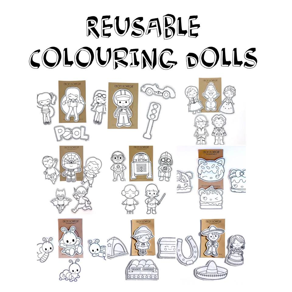 Individual Reusable Colouring Dolls ($5) - Chloe's Bowtique