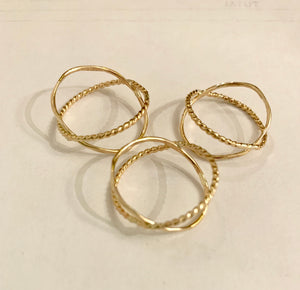 Gold Orbit Criss Cross Ring ($52) Devi Arts