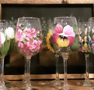 Hand painted wine glass - CC Crafts