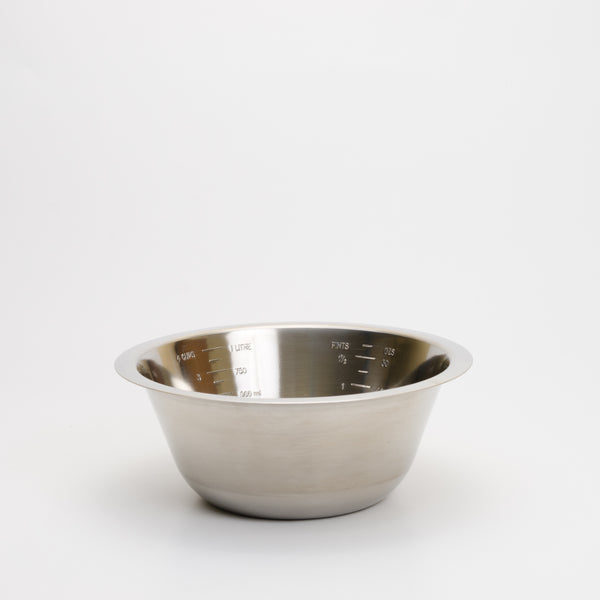 Stainless steel one litre measuring bowl