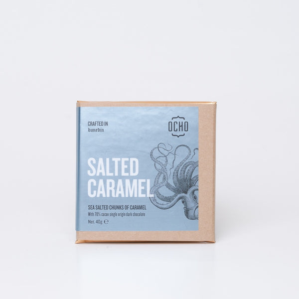 40g salted caramel chocolate by OCHO made in Dunedin, Aotearoa