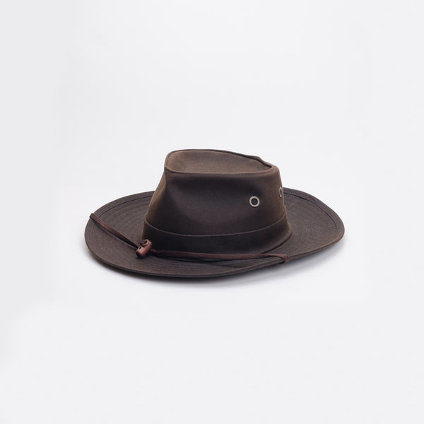 Mackenzie oilskin hat made in Wellington, Aotearoa