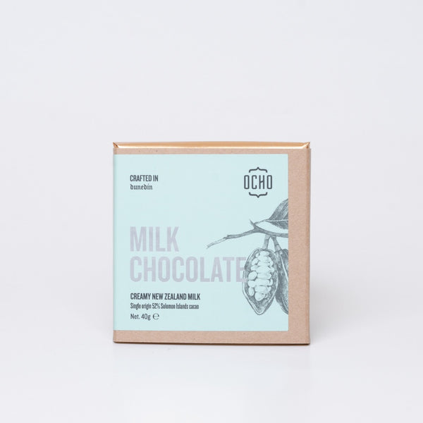 40g milk chocolate by OCHO made in Dunedin, Aotearoa