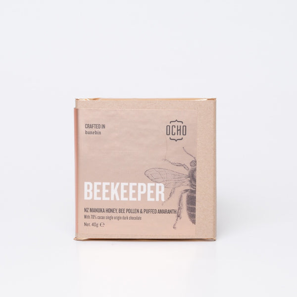40g beekeeper chocolate by OCHO made in Dunedin, Aotearoa