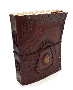 Handmade Gemstone Embossed Handmade Paper Engraved Brown Blank Leather Bound Journal Diary Notebook