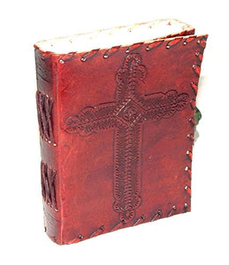 Holly Cross Embossed Handmade Paper Engraved Brown Blank Leather Bound Journal Diary Notebook