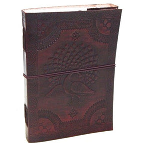 Firu-Handmade Peacock Paper Engraved Leather Bound Diary Brown