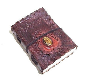 Firu-Handmade Gemstone Embossed Paper Engraved Blank Leather Bound Journal Diary Brown