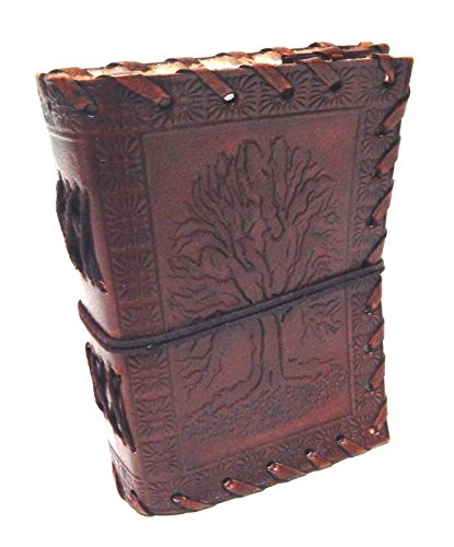 5 x 4 Inches Tree Of Life Embossed Handmade Paper Engraved Brown Blank Leather Bound Journal Blank Diary Notebook