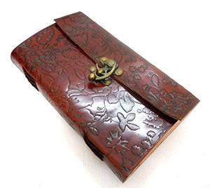 Firu-Handmade Large Flower Embossed Paper Engraved Blank Leather Bound Journal Diary Brown