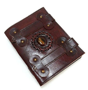 Dual Strap Pattern Embossed Handmade Paper Engraved Blank Leather Bound Journal Diary Notebook