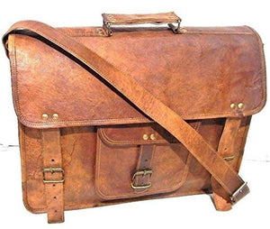 Firu-Handmade Leather Vintage Style Messenger Briefcase Shoulder Bag Free Size Brown