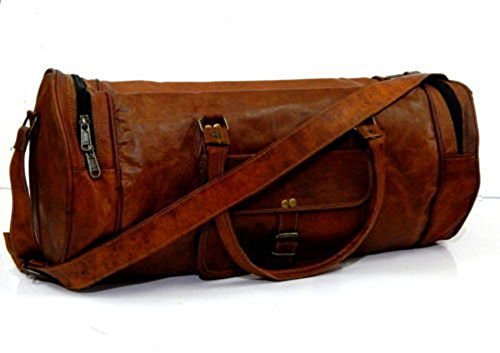 "20"" Vintage Style Leather Brown Duffel Gym Sports Luggage Travel Bag Handmade Free Size"