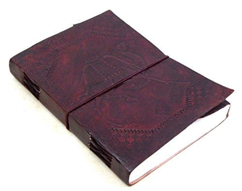 Firu-Handmade Camel Embossed Paper Engraved Leather Bound Journal Brown