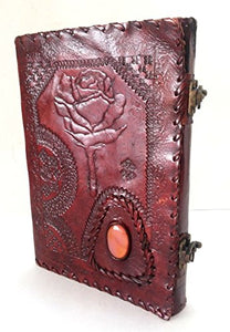 Rose Embossed Handmade Paper Engraved Brown Blank Leather Bound Journal Diary Notebook