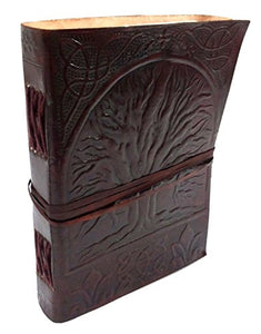 Tree Of Life Embossed Handmade Paper Engraved Brown Blank Leather Bound Journal Blank Diary Notebook