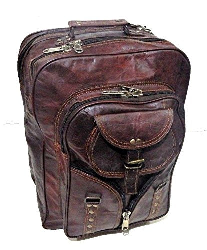 Firu-Handmade Leather Vintage Style School Travel Bag Backpack Free Size Brown