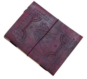 Firu-Handmade Camel Embosed Paper Engraved Leather Bound Journal Brown