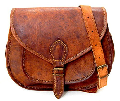 Firu-Handmade Women Vintage Style Brown Leather Cross Body Handmade Shoulder Bag