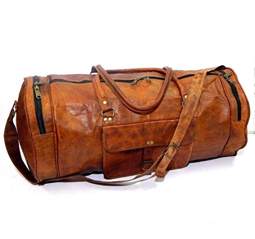 "24"" Vintage Style Leather Brown Duffel Gym Sports Luggage Travel Bag Handmade"