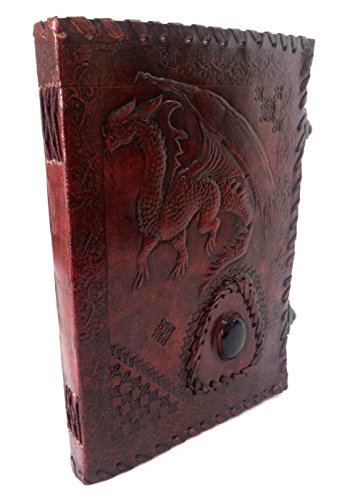 Dragon Embossed Handmade Paper Engraved Blank Leather Bound Journal Diary Notebook Brown