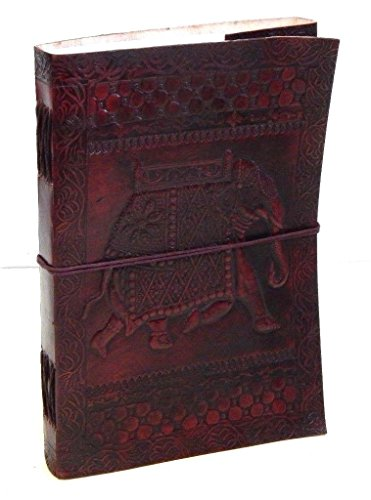 Firu-Handmade Elephant Embossed Paper Engraved Leather Journal Brown