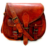 Firu-Handmade Women Vintage Style Genuine Brown Leather Cross Body Shoulder Bag Handmade Purse