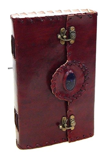 Firu-Handmade Gemstone Embossed Paper Engraved Leather Journal Brown
