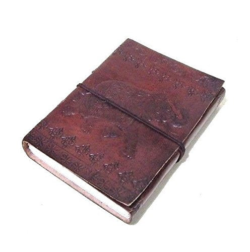 Elephant Embossed Handmade Paper Engraved Brown Blank Leather Bound Journal Diary Notebook