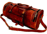 "Firu-Handmade 20"" Vintage Style Leather Brown Duffel Gym Sports Luggage Travel Bag Handmade Free Size"