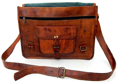 "15"" Genuine Vintage Brown Leather Messenger Shoulder Laptop Bag Briefcase Handmade Free Size"