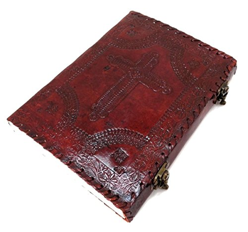 Holly Cross Embossed Handmade Paper Engraved Brown Blank Leather Bound Journal Blank Diary Notebook