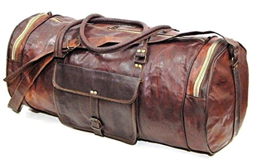 "Firu-Handmade 24"" Vintage Style Leather Brown Duffel Gym Sports Luggage Travel Bag Handmade Free Size"