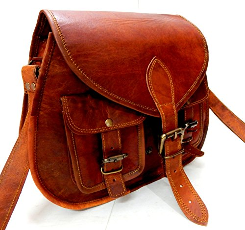 ca92b710d903 ... Firu-Handmade Women Vintage Style Genuine Brown Leather Cross Body  Shoulder Bag Handmade Purse
