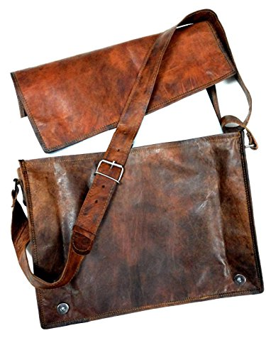 "15"" Genuine Vintage Brown Leather Messenger Shoulder Bag Laptop Satchel Handmade Free Size"