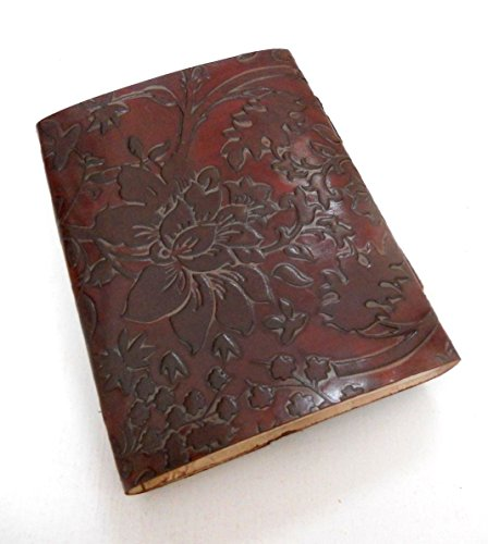 Flower Embossed Handmade Paper Engraved Brown Blank Leather Bound Journal Blank Diary Notebook