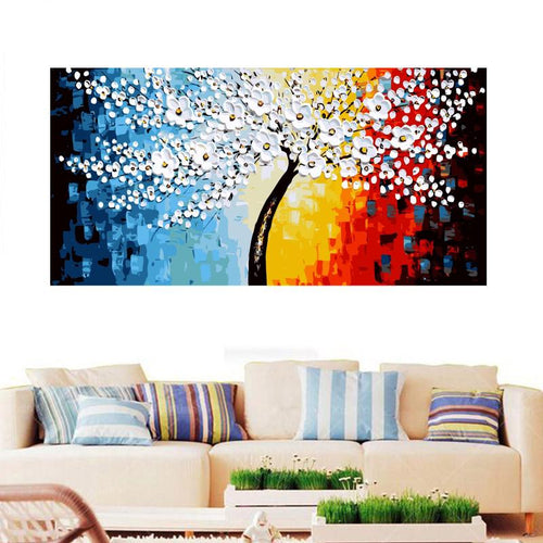 Colorful White Florals on a Tree (50cm x 100cm)