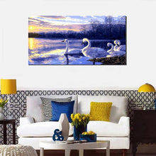 Swans at sunset (50cm x 100cm)