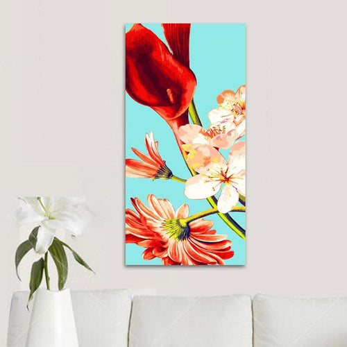 Various red florals (40cm x 80cm)