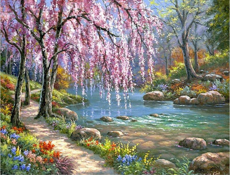 Cherry blossom trees next to river paint by numbers for Pre printed canvas to paint for adults