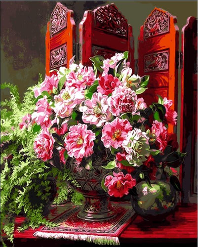 Pink flowers in vase against oriental setting - DIY Paint By Numbers Kits for Adults