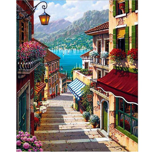 Steps in village leading to the ocean - DIY Paint By Numbers Kits for Adults