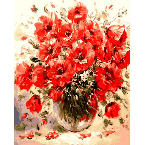 Red Poppies in a vase - DIY Paint By Numbers Kits for Adults