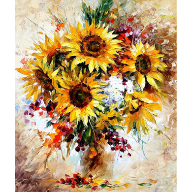 Colorful large sunflowers with depth