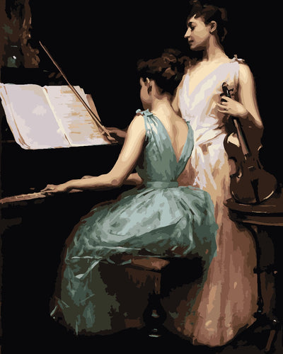 Women practicing piano and violin